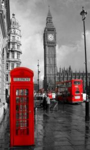 Big Ben And The World Famous Red Telephone Box And Red Bus