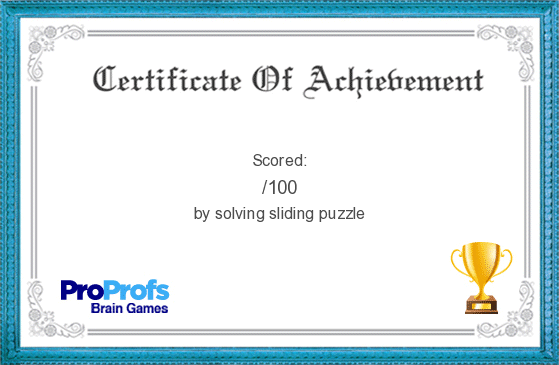 bingo21's certificate on Survivor Scotland sliding puzzle game