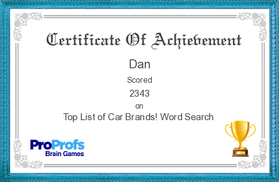 Technology Management Image: Dan's Certificate On Car Brands Word Search Game
